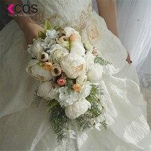 Xcos 2019 새로운 4 스타일 워터 드롭 폭포 우아한 웨딩 부케 인공 칼라 로즈 신부 꽃다발 화이트 꽃다발 mariage