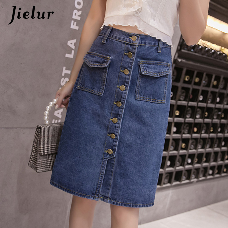 Jielur <font><b>High</b></font> <font><b>Waist</b></font> <font><b>Denim</b></font> <font><b>Skirts</b></font> Plus Size Buttons Pockets Classic <font><b>Jeans</b></font> <font><b>Skirt</b></font> for Women S-5XL Fashion Korean Elegant Jupe Femme image