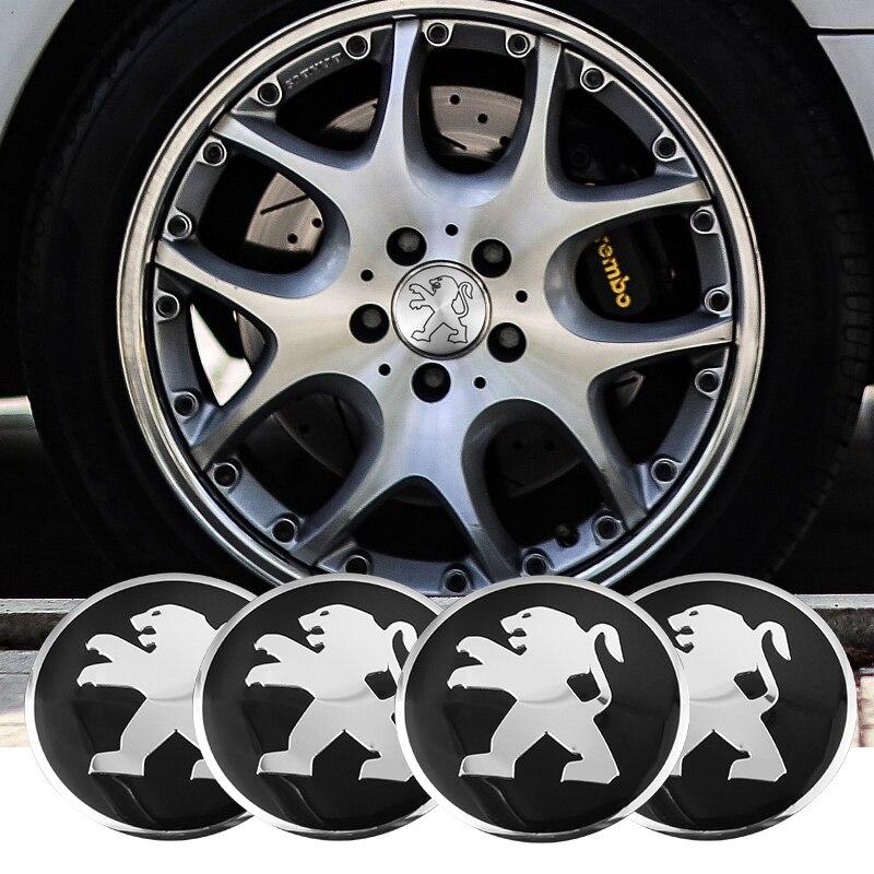 Автомобильная эмблема, 4 шт., 56 мм, колпачки для центра колеса автомобиля, наклейка, аксессуары для Peugeot 206 307 308 207 3008 208 407 508 2008 301 406 408