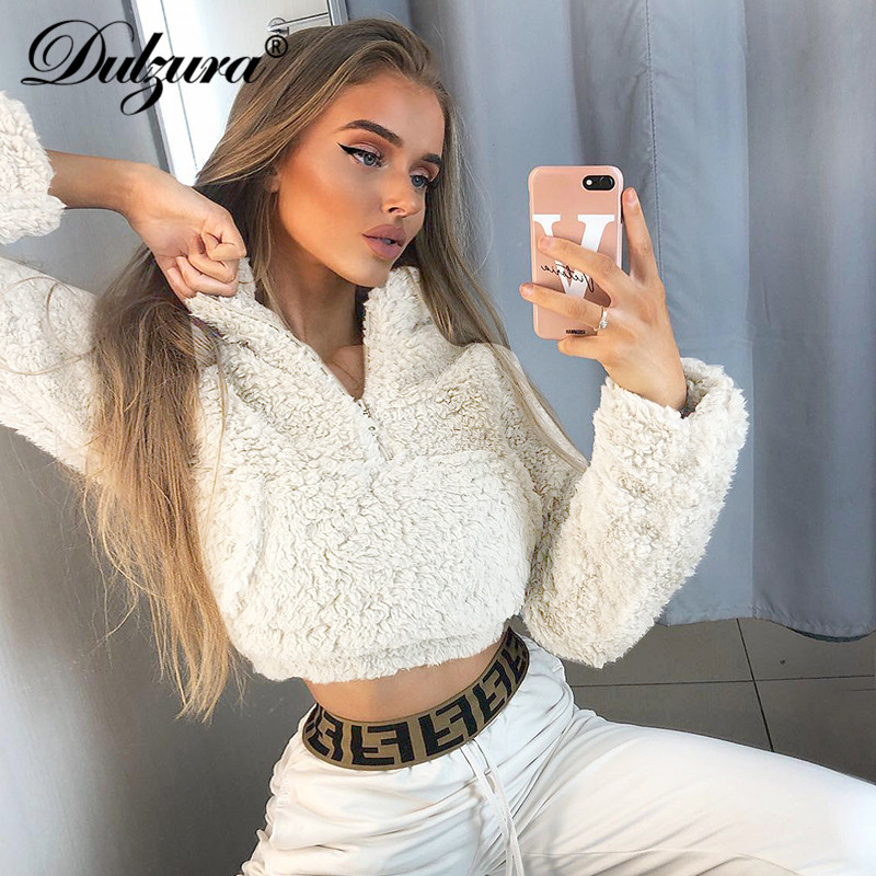 Dulzura 2019 Autumn Winter Women Sweatshirt Coat Pullover Lambswool Teddy Crop Top Streetwear Casual Korean Clothes High Neck