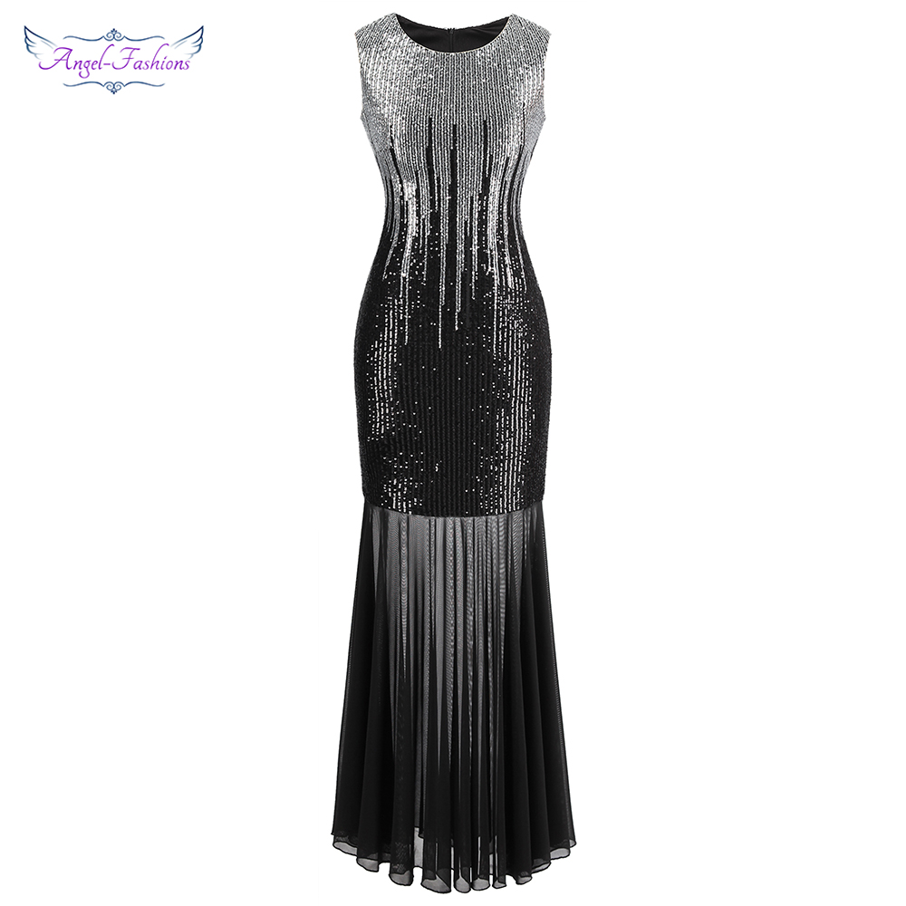 Angel-fashions Sparkle Sequin Evening Dress Long See Through Gatsby Prom Gown Silver 458