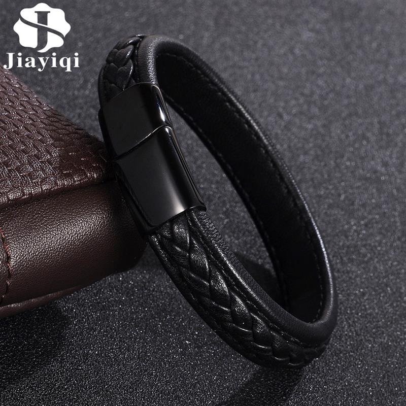 Jiayiqi Genuine Leather Bracelet Fashion Men Jewelry Stainless Steel Magnetic Clasp Braided Black Brown Punk Rock Leather Bangle