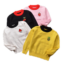 Kids Clothing New Girls Sweaters Cherry Pattern Sweater for Boys Long Sleeve Girls Knitwear Boys Pullover new 2015 autumn winter baby sweaters children clothing kids sweaters baby boys casual knitwear pullover