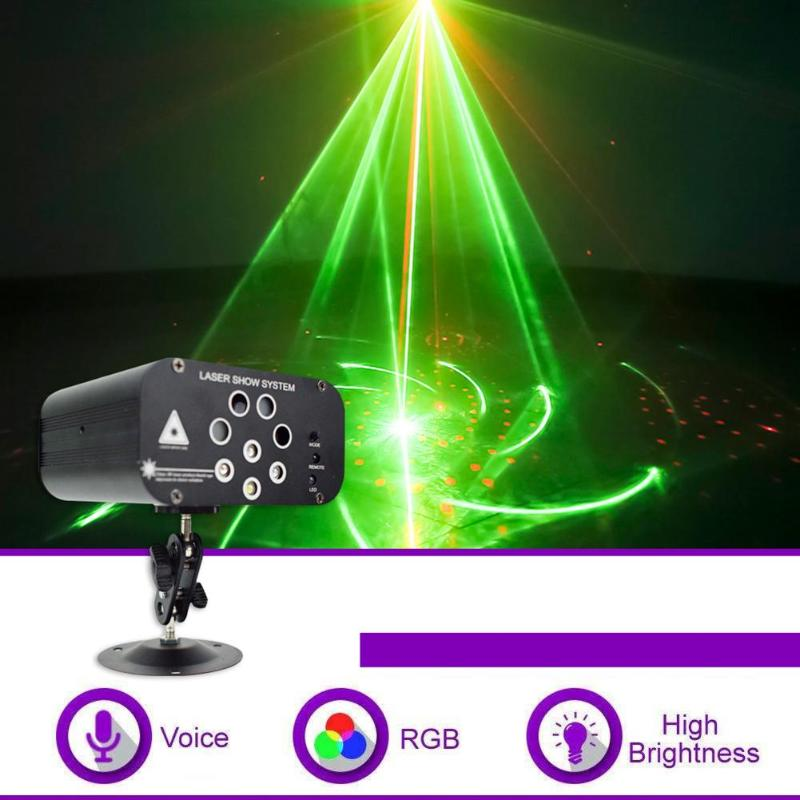 Mini RGB Laser Light 128 Patterns Portable Laser Projector For Stage Disco