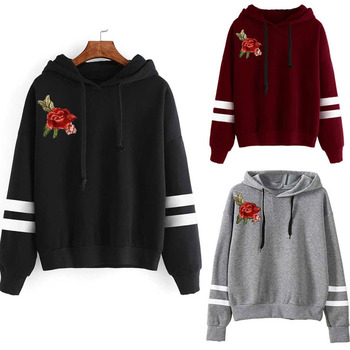 2020 New Hoodie Women Rose Embroidered Hoodie Autumn Winter Sweatshirt Drawstring Hoodie Patchwork Harajuku Fashion Korea Style hoodie crosshatch hoodie