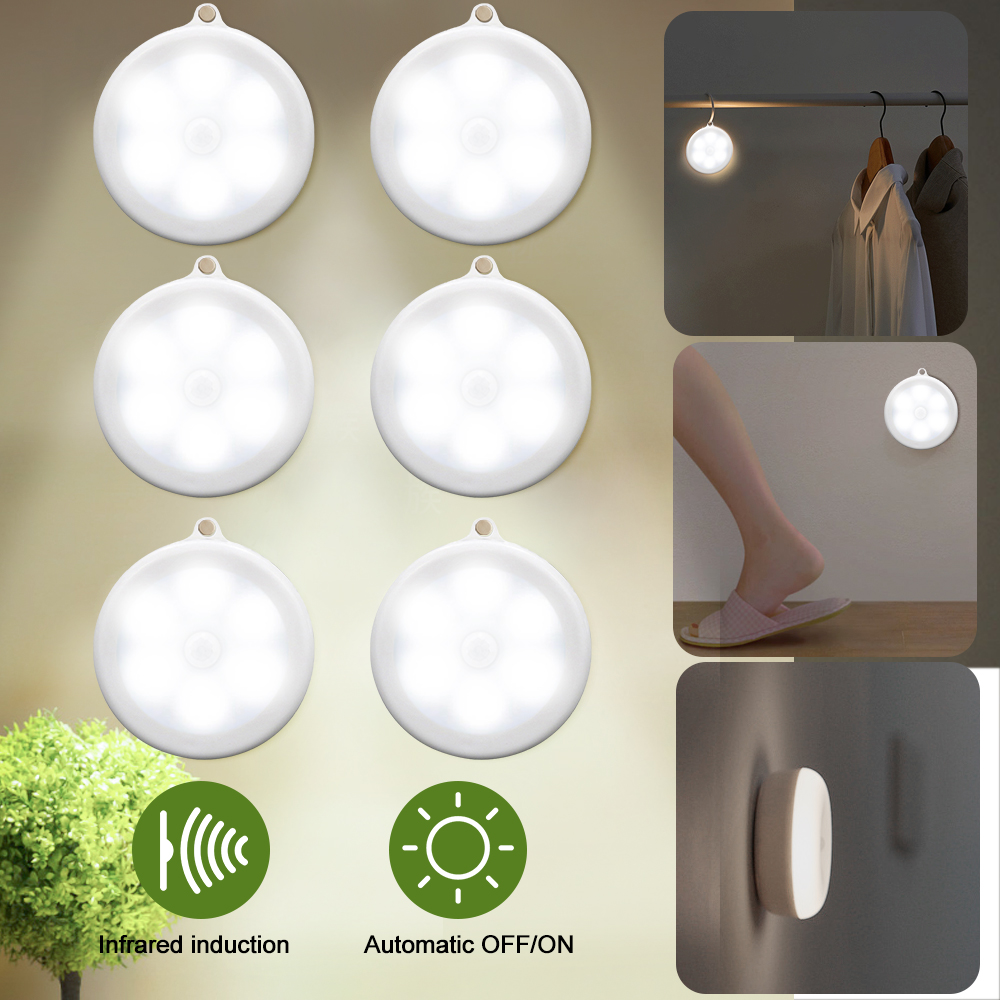 6 LED Infrared Motion Sensor Night Light Dia 80mm Wireless Detector Light Auto On/Off Lamp Protect Eye Lamp 1/3/6pcs