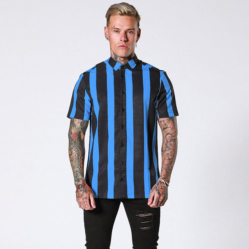 Brand Men's Shirt Short Sleeve Striped Color Matching Fashion Business Shirt Casual Streetwear Men's Clothing Shirt