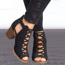 2020 Women Square Heel Sandals Peep Toe Hollow Out Chunky Gladiator