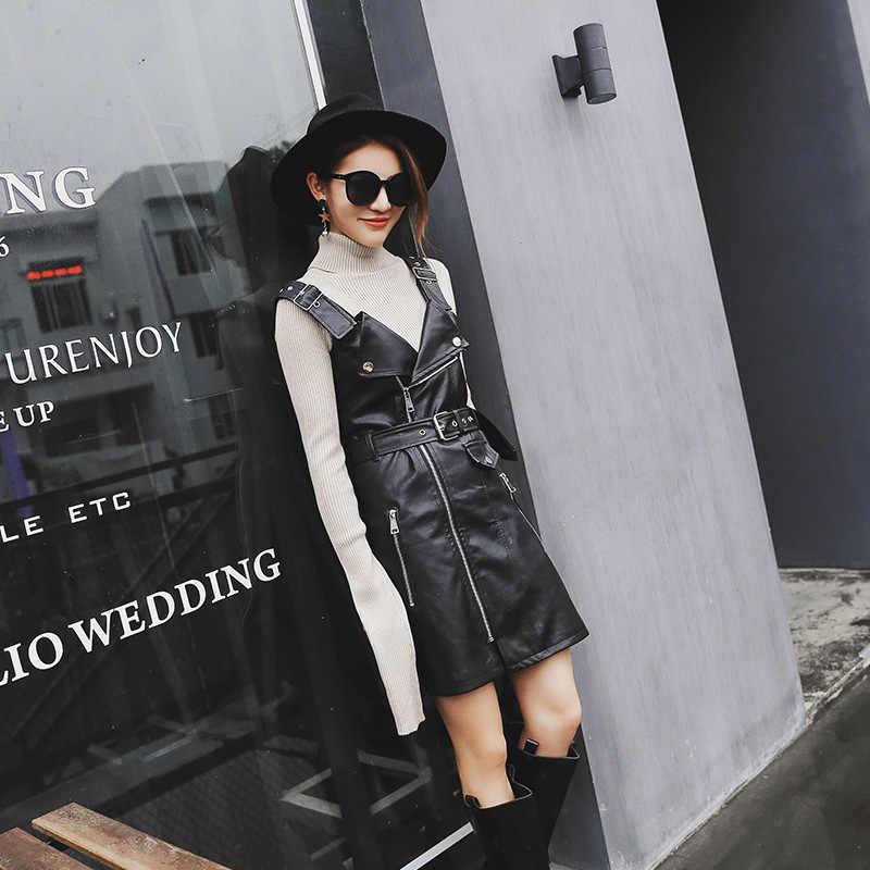 2020 ใหม่ชุดสตรีสูงเอว Streetwear หญิงสายรัดหนังแพคเกจ Hip Sheepskin หนังแท้ Vestido ลูกไม้ UP