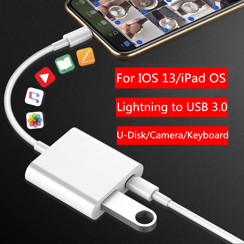 OTG Adapter For IPhone 11 Pro XS XR 8 USB Flash Drive Lightning To Usb Camera Keyboard Converter For IPad IOS 13 Data Adapter