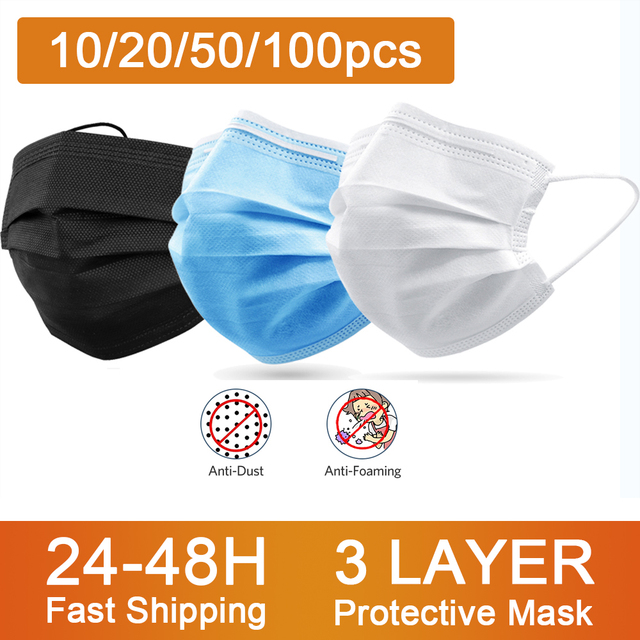 10/20/50/100/200Pcs Disposable Medical Masks Non Woven Anti-dust 3 Layers Breathable Face Mouth Kid Adult Blue Black White Masks