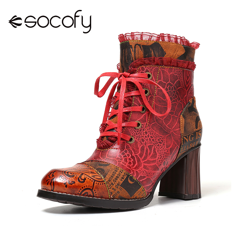 SOCOFY Embossed Boots Rose Lace Leather Stitching Lace Up Zipper High Heel Boots Design Shoe Woman Shoes Botas Mujer 2020