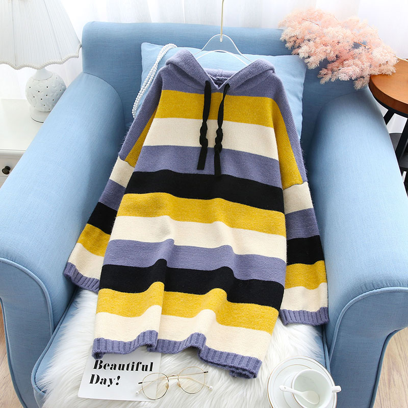 hooded striped women sweater and pullovers knitted slim thicken warm witner new all match casual outwear coat pulls top quality
