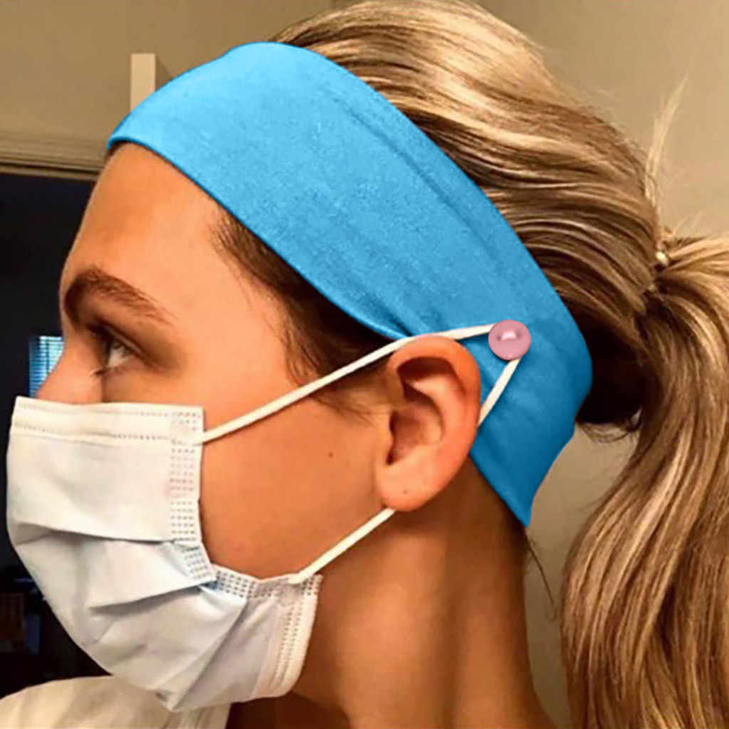 5pcs Solid Unisex Headband With Button Yashmak Holder Ears Protection For Wearing Mask Outdoor Sport Bandana Hair Accessories