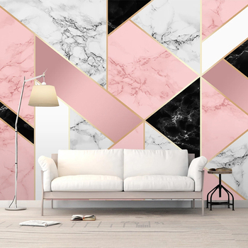 Custom 3D Photo Wallpaper Mural Modern Pink Marble Pattern Abstract Geometric Living Room TV Background Wall Paper Home Decor grey silver textured wallpaper home decor modern abstract living room background brick stone concrete industrial wall paper roll