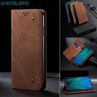 Luxury Denim Leather Flip Case for Xiaomi Mi 10 9 9t Cc9 Pro Cc9e Redmi 8a 7a K20 Note 9 s 8T 8 7 Pro Magnetic Wallet Book Cover