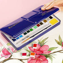 лучшая цена 18/24/36/48 Colors Solid Water Color Paint Set Metal Iron Box Watercolor Painting Pigment Pocket Set For Drawing Art Supplies