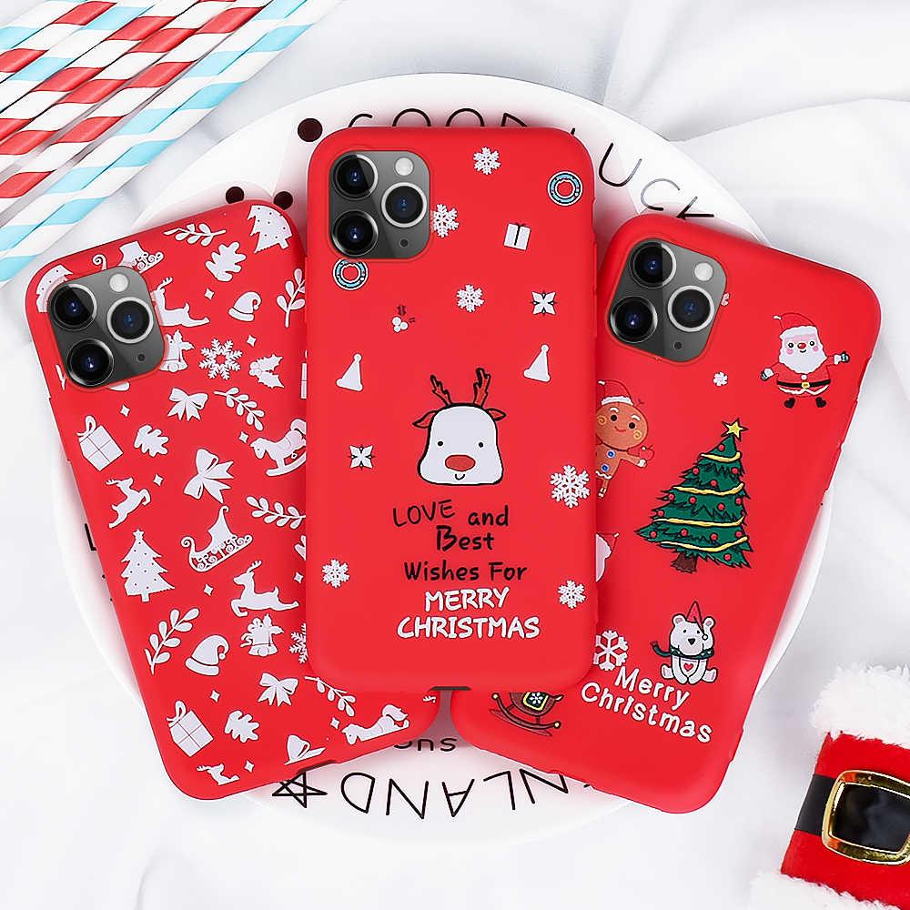 Caso macio tpu para iphone 11 2019 6 s 8 7 6 plus vermelho natal padrão coque para iphone x xs max xr 11 pro max capa de telefone
