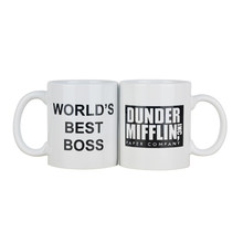 Coffee Mug cup With Dunder Mifflin The Office World's Best Boss 11 oz Funny Ceramic Coffee Tea Cocoa Mug Unique office gift