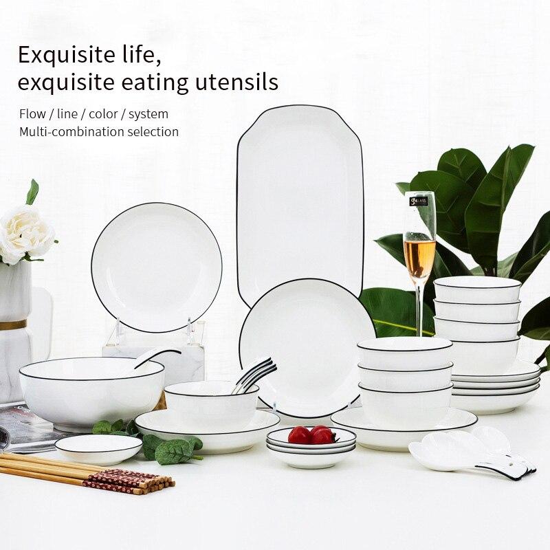 Vaisselle en céramique blanche riz fruits salade nouilles bol assiettes ménage mariage décoration assiettes plats et assiettes ensemble
