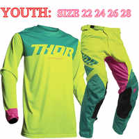 Size 22 24 STREAM FOX 2020 Top Youth Motocross Gear Set MX Moto Jersey Set For Children ATV Child Jersey And Pant