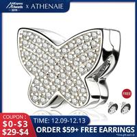 ATHENAIE 3 Colors 925 Silver Clips Pave Clear CZ Sparkling butterfly Charms Bead Fit All European Charms Bracelet Gift for Women