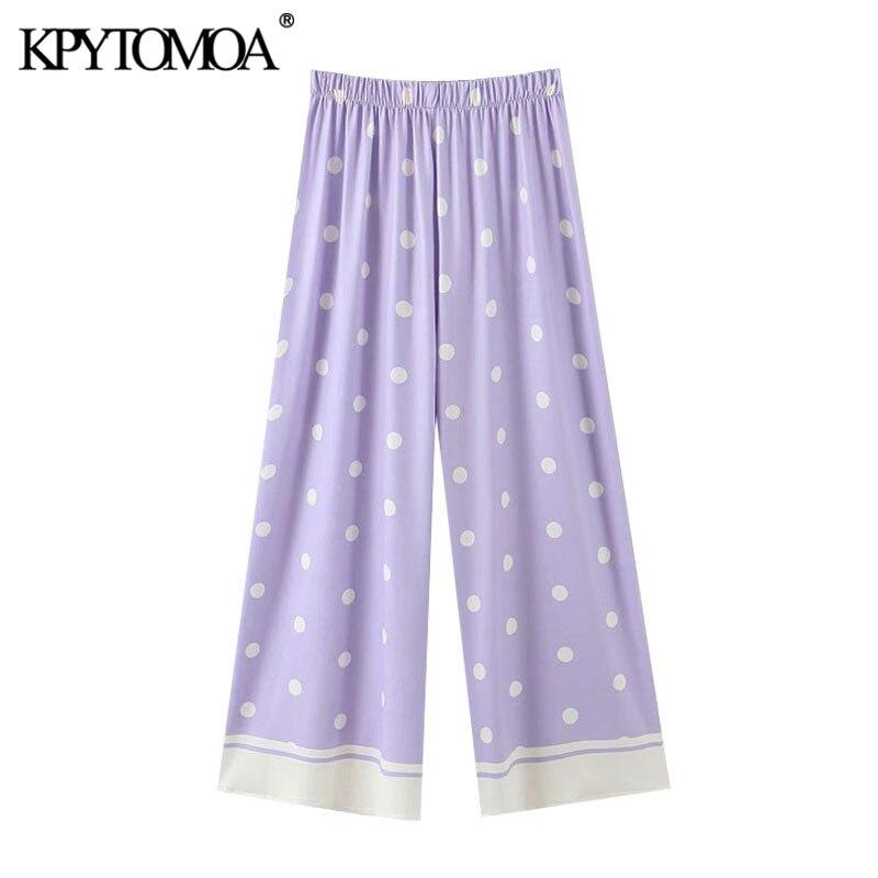 KPYTOMOA Women 2020 Chic Fashion Printed Straight Pants Vintage High Elastic Waist Female Ankle Trousers Pantalones Mujer