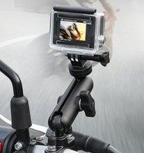 Motosiklet sürme kamera tutucu dikiz aynası ayarlanabilir Metal sabit braket standı için GoPro Hero 8/7/6 aksiyon kameraları
