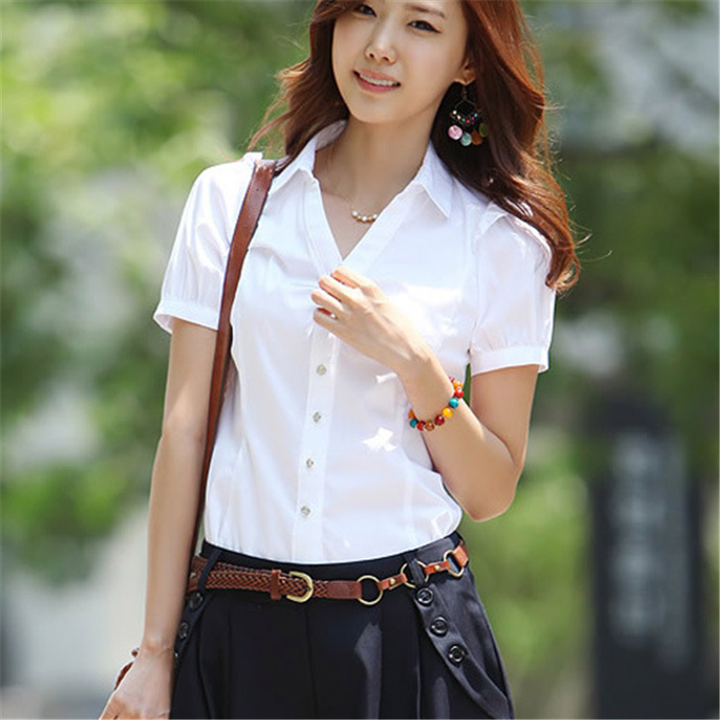 Women Shirts Elegant Women V Neck White Shirt Plus Size Korean Fashion Cotton Blouses Shirts Office Lady Work Shirt 5xl Women in Blouses amp Shirts from Women 39 s Clothing