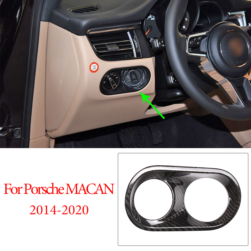 Real Carbon Fiber Car Parts Headlight Switch Frame Decoration Cover Trim For MACAN 2014-2020 Auto Accessories Interior Sticker