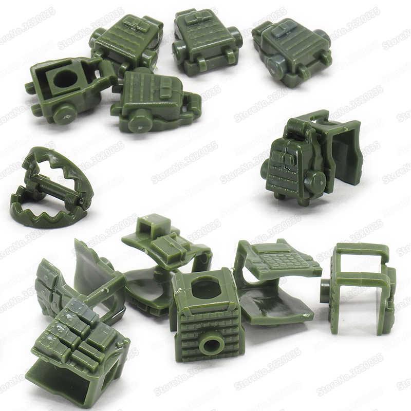 Legoinglys ตัวเลขทหารกระเป๋าเป้สะพายหลังอาคารบล็อกชุด DIY WW2 กองทัพพิเศษอุปกรณ์อาวุธ Pubg Moc เด็กคริสต์มาสของขวัญของเล่น