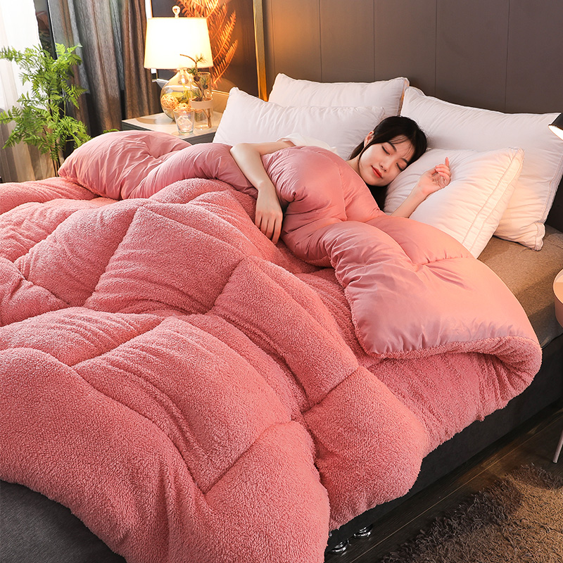 High Quality Thicken Warm Cotton Quilt Warm Camel Comforter Blanket Multily-color Choose Winter Patchwork Duvet Lamb Wool Quilt