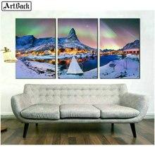 Diamond painting winter landscape Arctic light snow mountain picture diamond mosaic home decoration