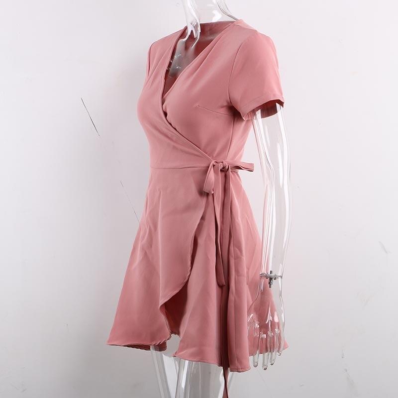 mini vestido envoltório, manga curta, férias, verão,