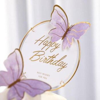 1Set de cumpleaños, pastel de cumpleaños, mariposa Artificial de la flor de la ducha de bebé decoración para fiesta de boda regalo DIY suministros para hornear