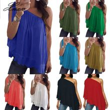 Sexy Off Shoulder Women Chiffon Blouses Ladies Summer Casual Solid Loose Tops Female Party Club Wear Plus Size S-5XL