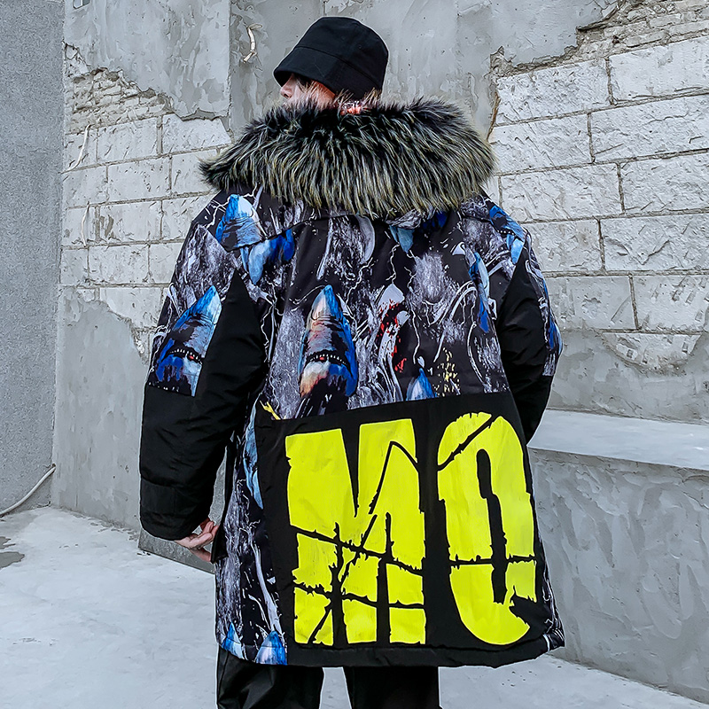 Мужская зимняя куртка с капюшоном с принтом акулы, 2019, Мужская Толстая теплая парка в стиле хип хоп, мужская повседневная куртка в стиле пэчв...