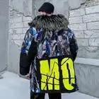 Мужская зимняя куртка с капюшоном с принтом акулы, 2019, Мужская Толстая теплая парка в стиле хип хоп, мужская повседневная куртка в стиле пэчв... - 1