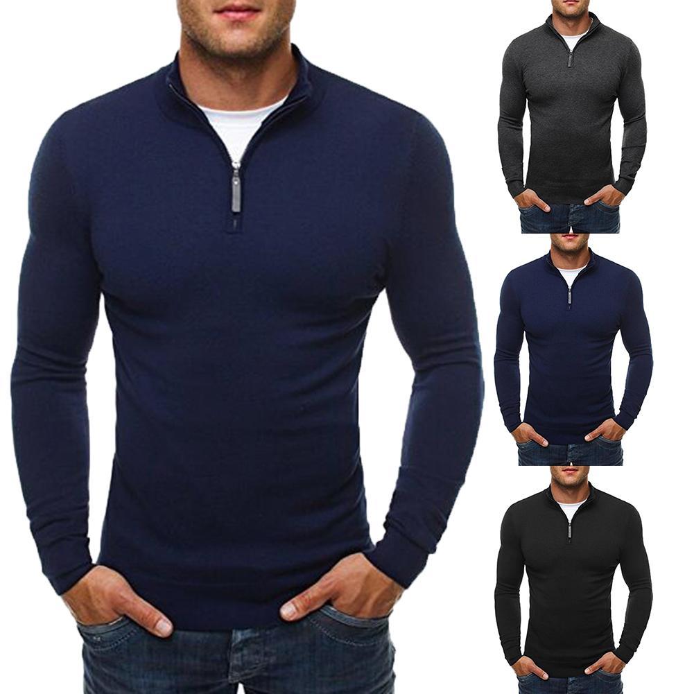 Casual Sweater Men Solid Color Stand Collar Long Sleeve Men Sweater Zipper Knit Sueter Hombre Black Grey Navy Blue Erkek Kazak
