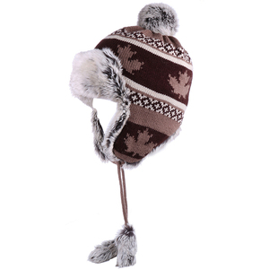 Image 4 - Sombrero de lana de invierno para mujer, gorro de lana tejida para nieve con Pompón, hoja de arce, gorra de aviador, orejeras de piel de zorro, forro polar ruso Ushanka