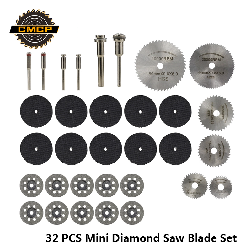 32pcs Diamond Saw Blade Set HSS Mini Circular Saw Blade For Dremel Rotary Tools  Resin Cut-Off Wheels Diamond Cutting Discs