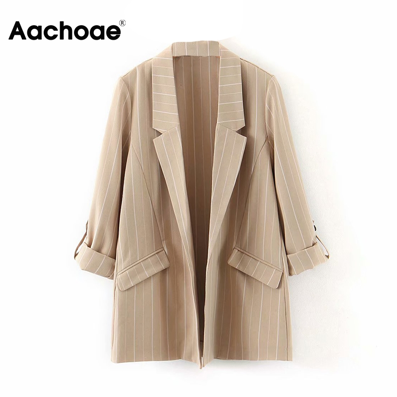 Fashion Long Sleeve Notched Neck Blazer Women Plaid Pockets Work Office Coats Lady Black Color Casual Coat Jacket Female Outwear