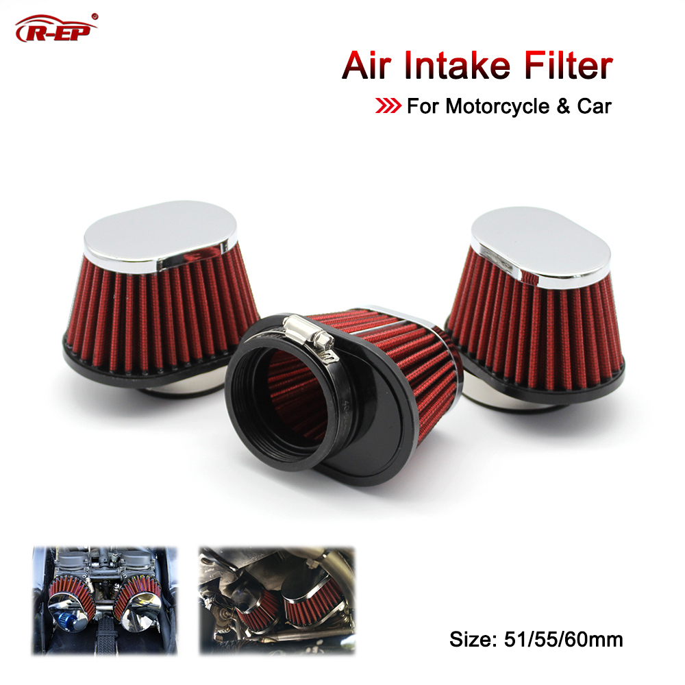 R-EP Motorcycle Air Filter 51mm 55mm 60mm Universal for Motorcycle & Racing Car Sport Air Intake Filter XH-UN073
