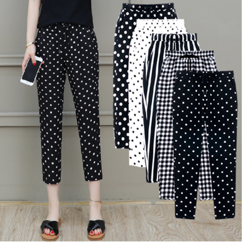 2020 Summer New Women Trousers Plus Size 5XL Female Capris Plaid Calf-Length Pants Casual Dot Pants Drawstring Striped Pant