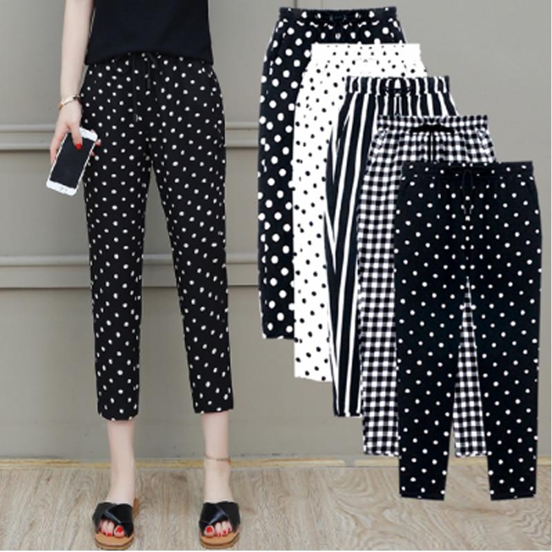 2020 Summer New Women Trousers Plus Size 5XL Female Capris Plaid Calf-Length Pants Casual Dot Pants Drawstring Striped Pant