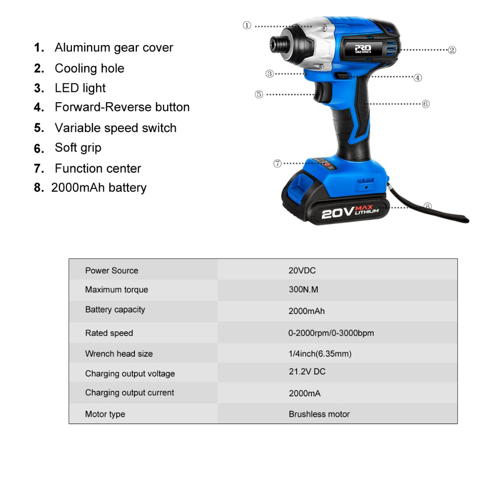Tools : 20V Cordless Impact Drill Cordless Screwdriver Optional Two-Piece Set 2000mAh Wireless Rechargeable Screwdriver By PROSTORMER