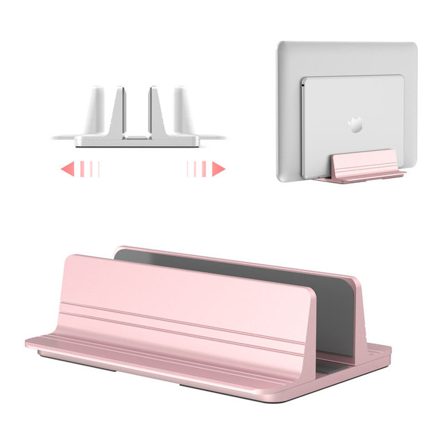 Aluminum Alloy Vertical Adjustable Laptop Stand Silver Pink Desktop Notebook Holder For Macbook Air Pro Chromebook