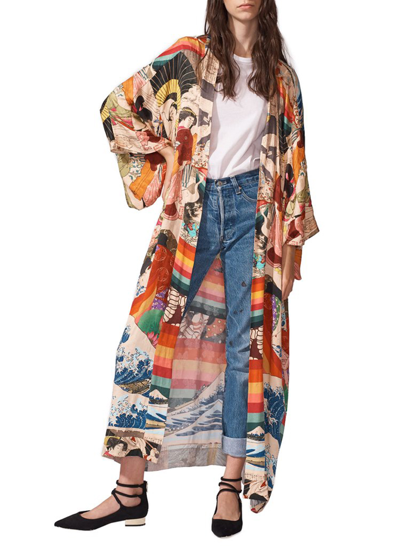 H60397955da25411d85421ab2a7bbd1d18 - Bohemian Printed Half Sleeve Summer Beach Wear Long Kimono Cardigan Cotton Tunic Women Tops Blouse Shirt Sarong plage N796