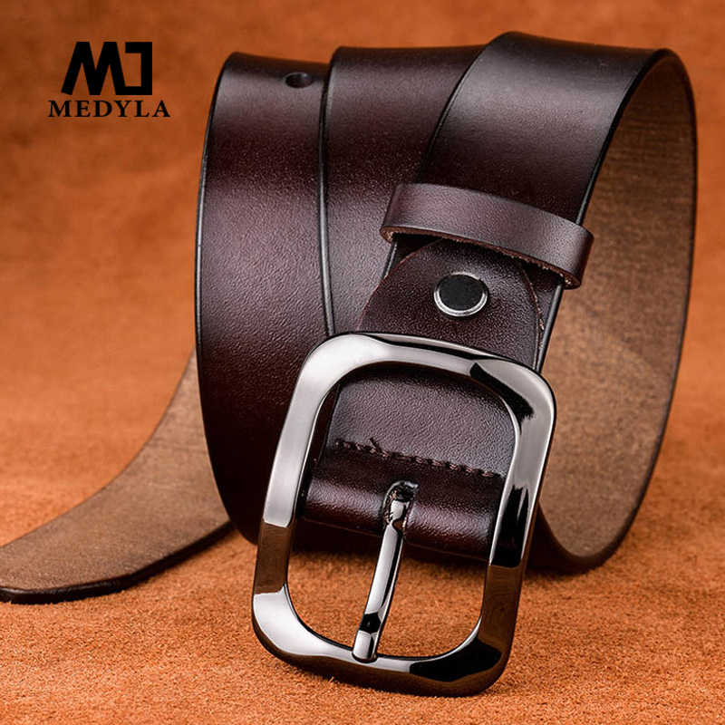 Medyla Ledakan Model Baru Wanita Leather Belt Leather Belt Hitam Gesper 3.2 Cm Retro Kasual Wanita Liar Sabuk