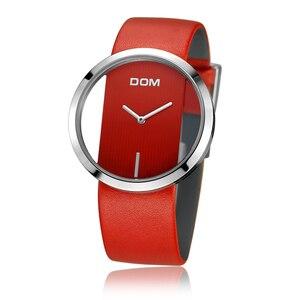 Image 2 - DOM reloj deportivo para mujer, resistente al agua hasta 30 m, correa de cuero genuino, elegante